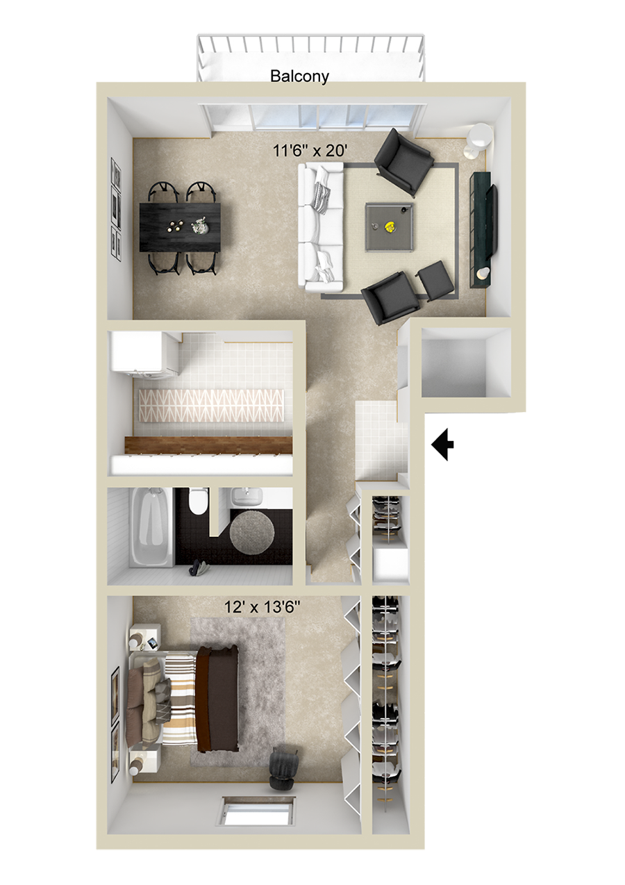 A 1 bedroom, 1 bath unit with 1 Bedrooms and 1 Bathrooms with area of 797 sq. ft